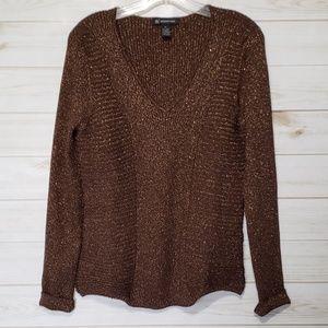 INC sparkle brown v-neck sweater